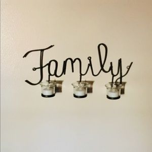 """Wrought Iron Wall Candle Holder Decor - """"Family"""""""